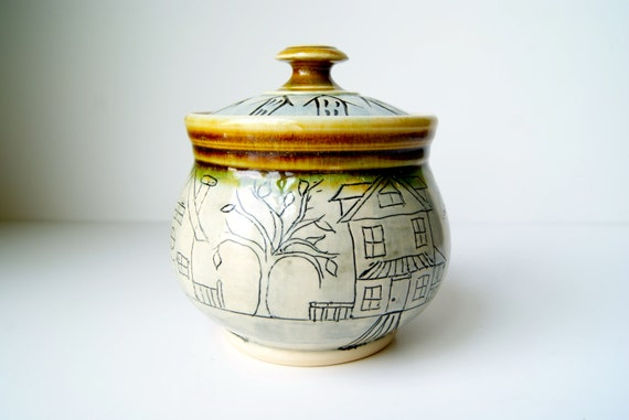 READY TO SHIP....Lidded Jar, Storage Container, Kitchen Storage, by RiverStone Pottery