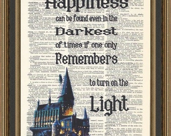 Harry Potter Happiness can be found quote printed on a vintage dictionary page. Hogwarts at Night Print, Nursery Art, Kid's Room Decor.