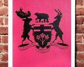 NEW Colour! Crest Print Black on Neon Pink