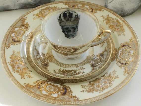 Gold Meito \ Ritz\  Skull Trio - Tea Cup Saucer and Snack Plate & Gold Meito \