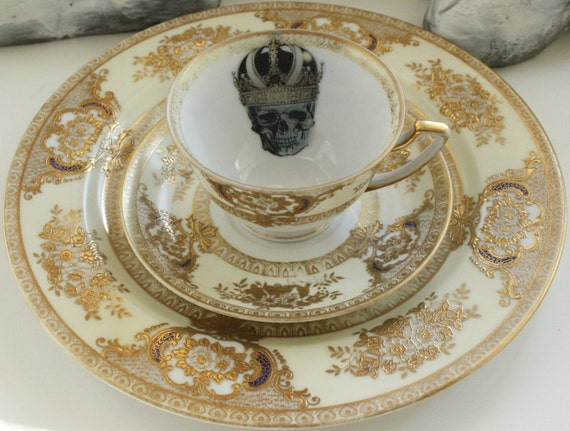 Gold Meito  Ritz  Skull Trio - Tea Cup Saucer and Snack Plate & Gold Meito
