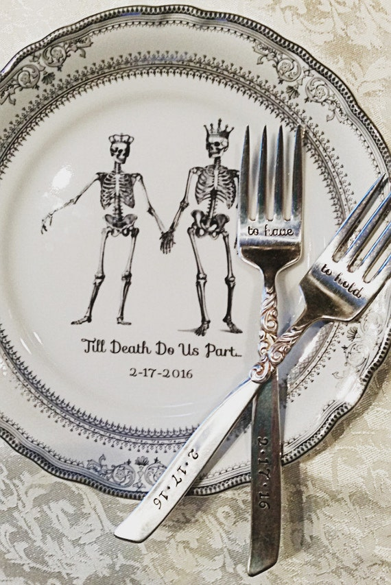 & RESERVED - Skeleton Wedding Couple Dinner Plate 10.5