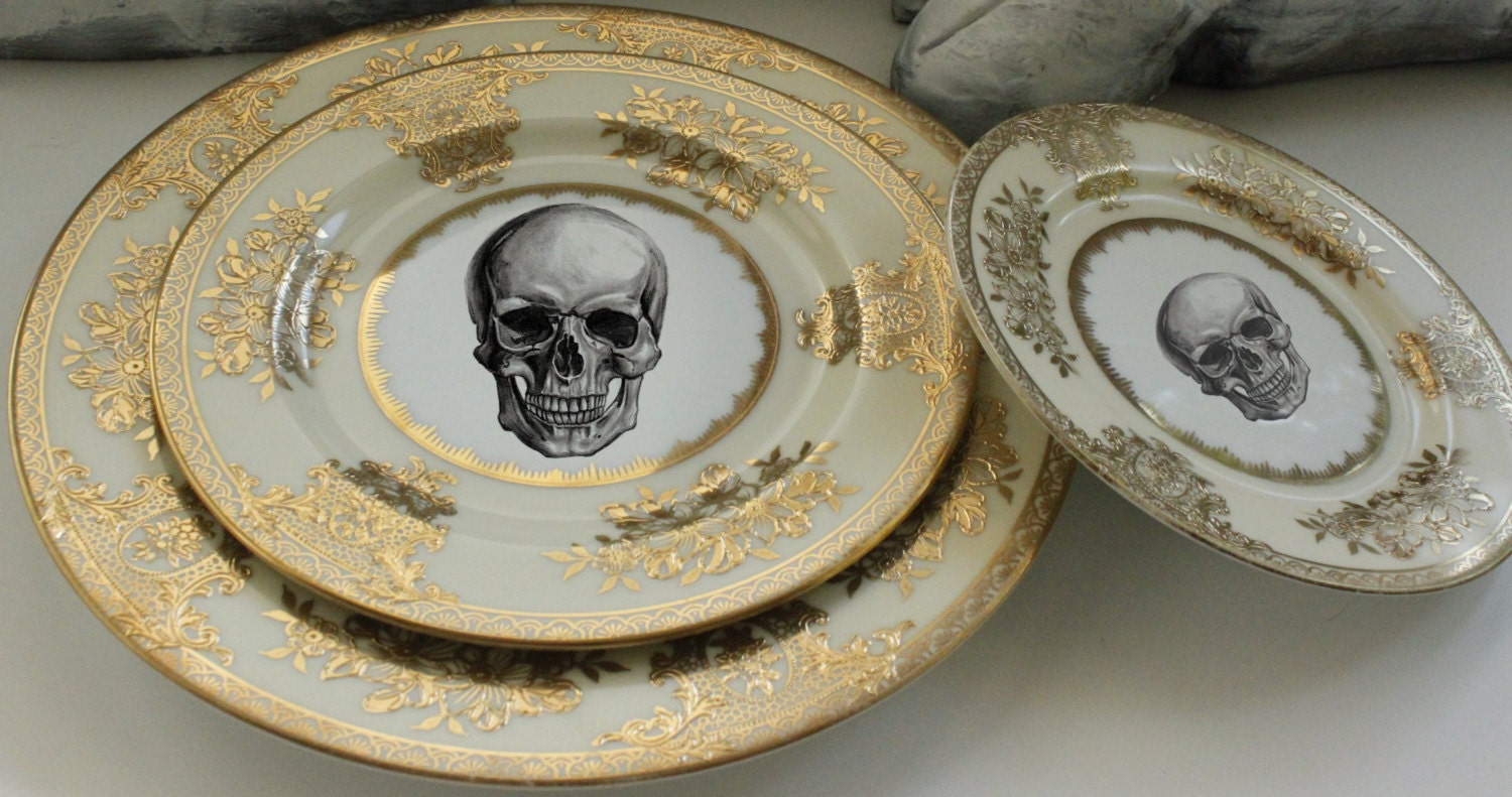 RESERVED for Kateryna - 8 Skull Dinnerware Sets 4 Pieces each & RESERVED for Kateryna - 8 Skull Dinnerware Sets 4 Pieces