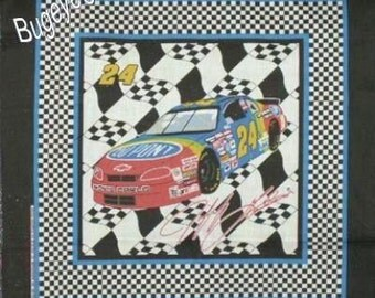 "Rare Fabric JEFF GORDON Nascar # 24 Checkered Flag Race Car Pillow Panel Fabric """""