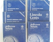 8 Vintage Coin Collecting Albums Lincoln Cents WITH STARTER PENNIES Washington Quarter Jefferson Nickels Roosevelt Dimes Indian Head Cents