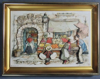 Anton Pieck Framed Market Place Print Cut Out 3-Dimensional Art In Shadow Box 1966