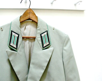 Vintage Military-Style Jacket Men's - Green Gray Double Breasted Military Blazer - Epaulets