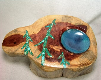 Rustic Cedar Spindle Bowl 6 Inches Across...TheYellowstone Caldera...