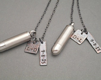 personalized his and hers bullet necklace by