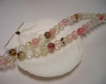 Watermelon Tourmaline Quartz, 6mm round beads, watermelon tourmaline synthetic gemstone, 6mm Quartz beads, 6mm gemstone beads