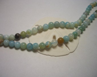 Natural Amazonite beads 6mm, round beads, multicolor amazonite beads, 6mm natural gemstone beads, 6mm beads, blue, grey, brown, teal, green