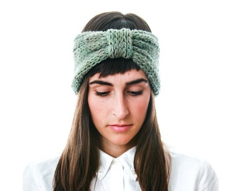 Hand Dyed Bow Headband in Sheep's wool, hand knit turban style ear warmer in lichen