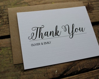 Elegant and Classic Wedding Thank You Note, Bride and Grooms Name, Personalized Stationery, Set of 10