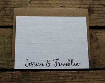 Wedding Thank You Cards with Envelopes / Custom Name Bride & Groom / Shower / Couples / Thank You Notes / Set of 10