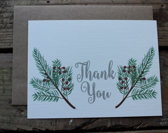 Christmas Thank You Cards with Envelopes / Holiday / Christmas Card / Set of 10 / Rustic / Country
