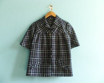 Vintage plaid blazer top blouse / navy blue / check checked / short sleeve / button up / cropped / hand made / 60s / medium