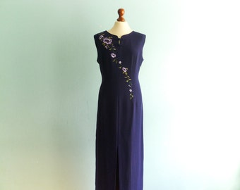 Vintage evening dress maxi dress sleeveless / dark violet / floral embroidery / wiggle tube pencil / special occasion party / long / medium