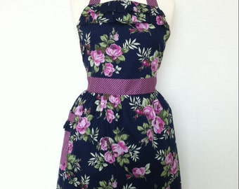 Retro apron with ruffles, purple floral pattern on a dark blue fabric, Polka Dots. 1950s vintage inspired, fully lined.