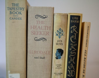 YELLOW Vintage Books, Book Decor, Book Bundle, Instant Library, Staging Props, Home Decor, Shabby Chic