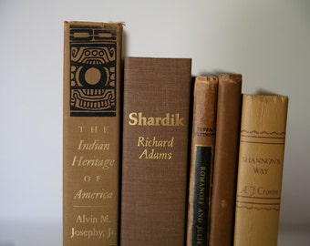 BROWN Vintage Books, Book Decor, Book Bundle, Vintage Library, Instant Library, Decorations, Shabby Chic