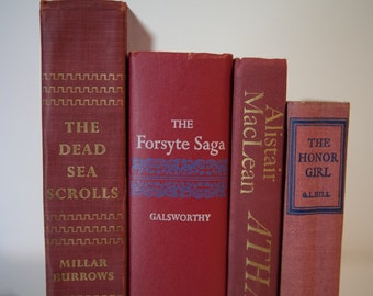 RED Vintage Book Bundle, Instant Library, Decorations, Shabby Chic. Props