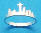 ON SALE - Silver Washington Seattle Skyline Ring - I Love Washington City Ring - Hometown Ring