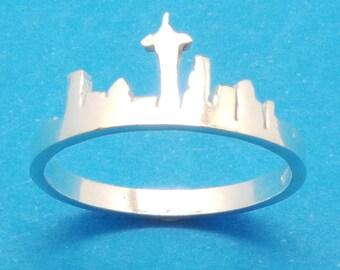 Silver Washington Seattle Skyline Ring - I Love Washington City Ring - Hometown Ring