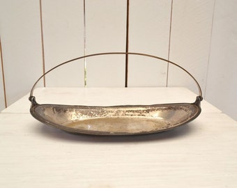 Oval Silver Platter - 1950s Long Handle Dish - Vintage Display Bowl - Tarnished Patina