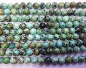 8mm Round African Turquoise beads Genuine Semiprecious Gemstone Bead 15''L Jewelry Supply Wholesale Beads