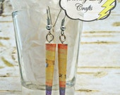 Yellow, Orange, Grey and Purple Storybook Paper Bead Earrings