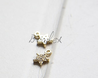 One Piece / Moon with Rhinestone / Gold Plated / Real Gold / Brass Base / Charm (Z8780//J517)