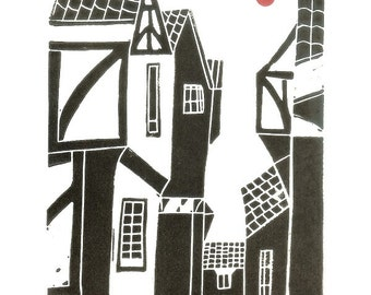 The Shambles Linocut Print - York UK - Yorkshire - English Medieval City - Original Linocut Print - Architecture Black White and Red