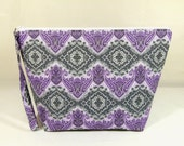 Knitting Project Bag - Large Zipper Wedge Bag in Purple Paisley Fabric with Purple Sparkle Cotton Lining