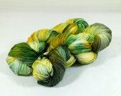 Hand Dyed Yarn - Sock Yarn - Fingering Yarn - Superwash Merino / Nylon - Emerald Green / Gold / Gray / Black - Golden Ivy