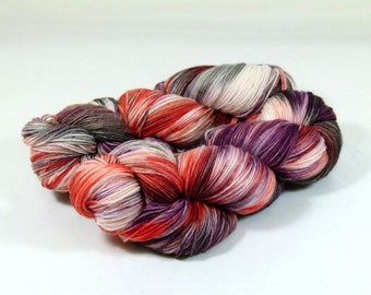 Hand Dyed Yarn - Sock Yarn - Fingering Yarn - Superwash Merino / Nylon - Autumn Breeze - Purple / Salmon Orange / Gray / Black