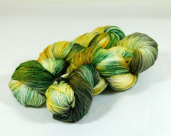 Hand Dyed Yarn - Sock Yarn - Fingering Yarn - Superwash Merino / Nylon - Emerald Green / Gold / Gray / Black - Golden Ivy