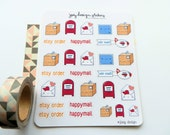 Cute stickers - HAPPY MAIL, post office, mailbox, packages, letters, perfect for your planner