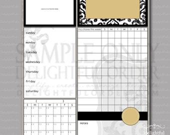 16x20 Yellow Damask Child Message Center - with Chore Chart (JPEG Digital File) - Instant Download - You Print - You Frame