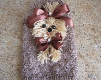 Dog Sweater Yorkie  Beige  By Nina's Couture Closet