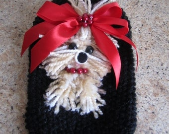 Dog Sweater Yorkie Black with Red  By Nina's Couture Closet