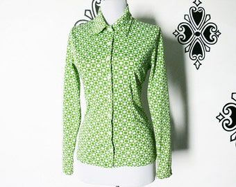 Vintage 60s Mod Circle Square Print Blouse Top Green White Long Sleeve XS Graphic Pattern Pointed Collar