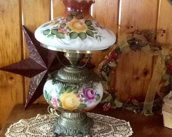 Parlor Lamp Milk Glass Hand Painted Flowers Beautiful Lighting Vintage Home Decor