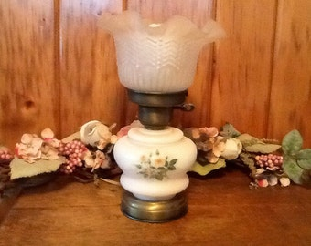 Milk Glass Lamp w/Pink Flowers Antique Cottage Lighting Shabby Chic Home Decor