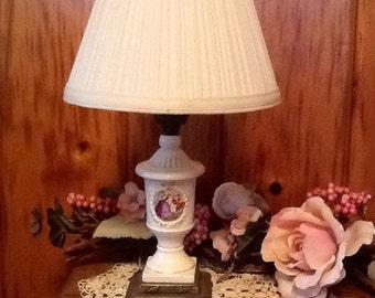 Porcelain Lamp Renaissance Scene Antique Electric Lighting Art Nouveau Home Decor