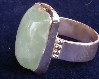 Prehnite Ring Size #10 Sterling Silver