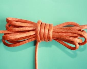 4 mm Orange Waxed Cotton Cord 5 Yards = 4.57 Meters - Cotton Braided Cord - Macrame rope - cotton yarn - macrame plant hanger - macrame cord