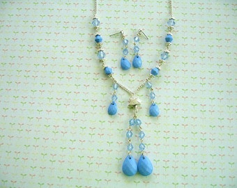 Blue Beads Necklace, Blue Earrings, Blue Jewelry, Blue Necklace, Bead Necklace