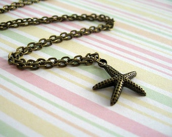 Antiqued Bronze Sea Star Necklace, Ocean Animal Antiqued Bronze Necklace, Sea Star Necklace, Sea Star Jewelry