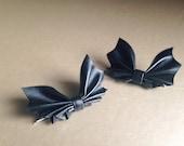 Black Leather Bat Hair Bow - Halloween Hair Bow - Batgirl Cosplay - Bat Bow - Hair Pin Set - Halloween Hair Acessories - Gold Hair Accessory