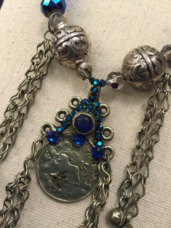 Vintage Kuchi Necklace with Blue Glass, Swarovski Crystal and Wire Wrapped Glass Beads